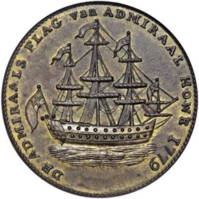 1779 RHODE ISLAND NO WREATH BELOW SHIP TOKEN MS obverse