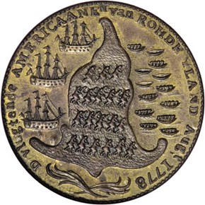 1779 RHODE ISLAND NO WREATH BELOW SHIP TOKEN MS reverse