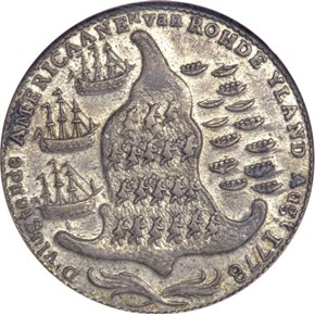1779 RHODE ISLAND WREATH BELOW - PEWTER TOKEN MS reverse