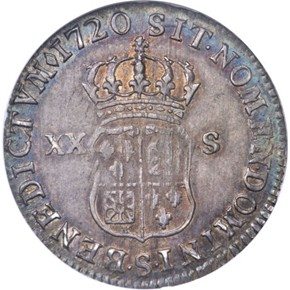 1720S FRENCH COLONIES 20S MS reverse