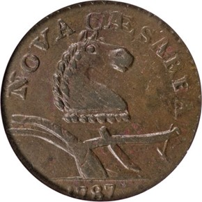 1787 CAMEL HEAD NEW JERSEY MS obverse