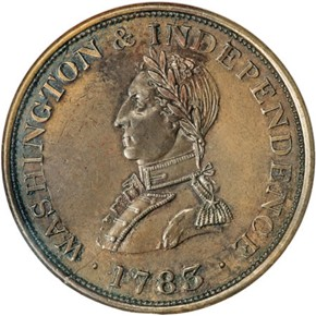 1783 PL EDGE SMALL BUST WASHINGTON & INDEPENDENCE obverse