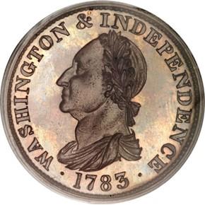 1783 GR EDGE COP RESTRK WASHINGTON & INDEPENDENCE PF obverse