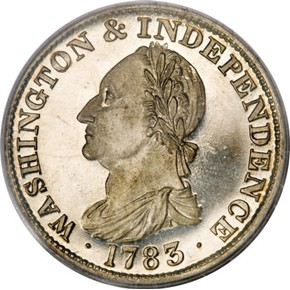 1783 GR EDGE SIL RESTRK WASHINGTON & INDEPENDENCE PF obverse