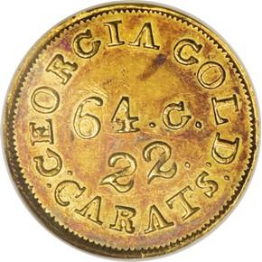 (1837-42) C.BECHTLER 64G, UNEVEN 22C $2.5 MS obverse