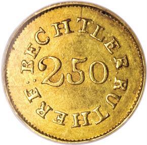 (1837-42) C.BECHTLER 64G, EVEN 22C $2.5 MS reverse
