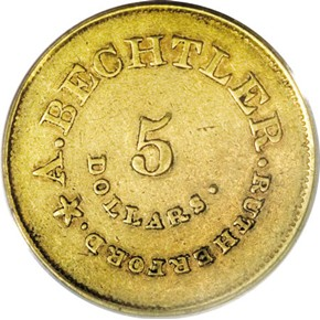 (1842-50) A.BECHTLER 141G, 20C $5 MS obverse