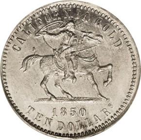1850 WHITE METAL BALDWIN K-1g RESTRIKE $10 MS obverse