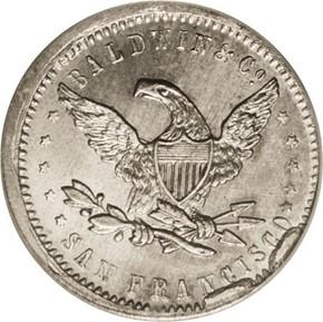 1850 WHITE METAL BALDWIN K-1g RESTRIKE $10 MS reverse