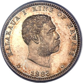1883 HAWAII 25C PF obverse