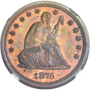 1876 J-1455 25C PF obverse