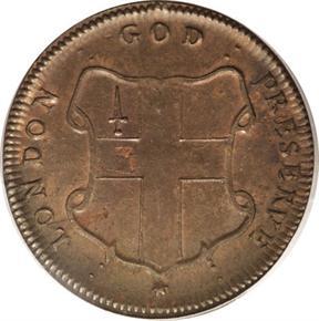 c.1694 THICK ELEPHANT GOD PRESERVE LONDON TOKEN MS reverse