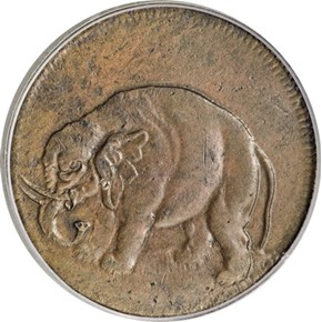 c.1694 THIN ELEPHANT GOD PRESERVE LONDON TOKEN MS obverse