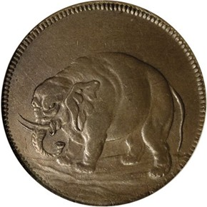 c.1694 DIAG ELEPHANT GOD PRESERVE LONDON TOKEN MS obverse