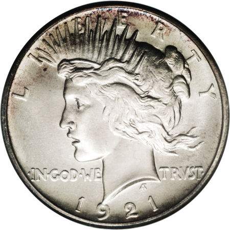 1921 Silver Peace Dollar High Relief VG-XF