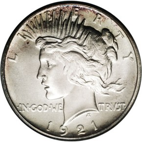 1921 PEACE HIGH RELIEF $1 PF obverse
