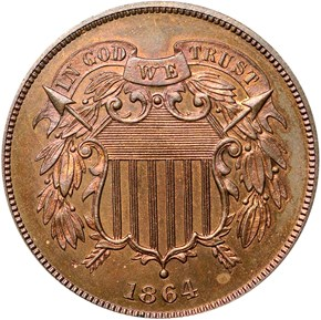 1864 LARGE MOTTO 2C PF obverse