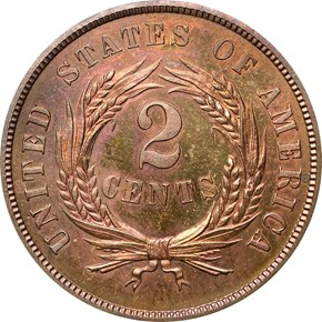 1864 LARGE MOTTO 2C PF reverse