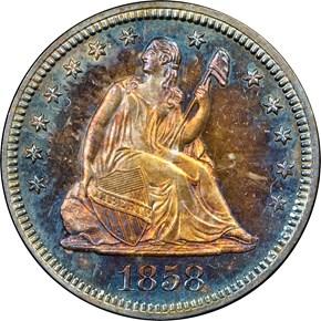 1858 25C PF obverse