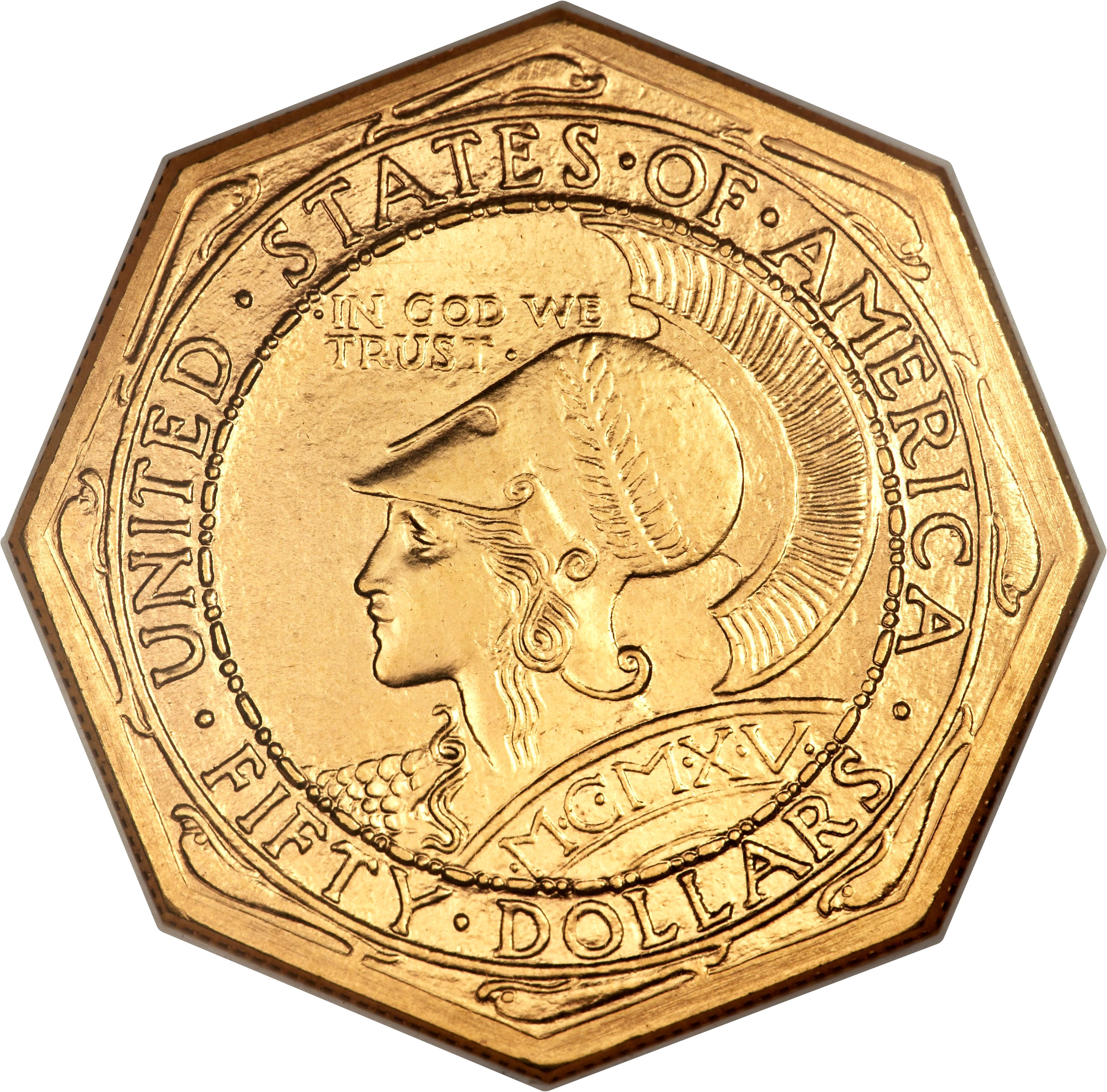 1915 S Octagonal Panama Pacific 50 Ms Gold Commemoratives