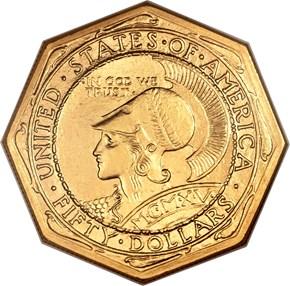 1915 S OCTAGONAL PANAMA-PACIFIC $50 MS obverse