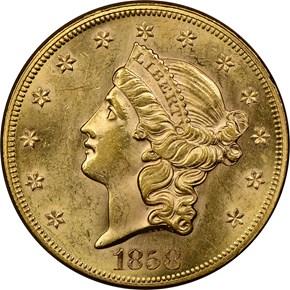 1858 $20 MS obverse