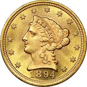 1894 $2.5 MS obverse