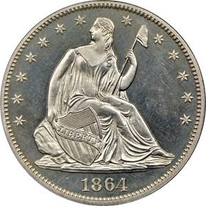 1864 50C PF obverse