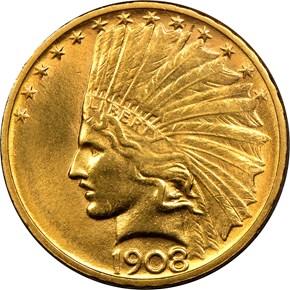 1908 D NO MOTTO $10 MS obverse