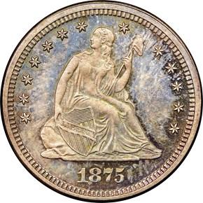 1875 25C PF obverse