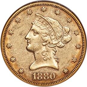 1880 CC $10 MS obverse