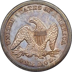 1850 O $1 MS reverse