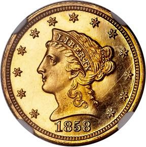 1858 $2.5 PF obverse