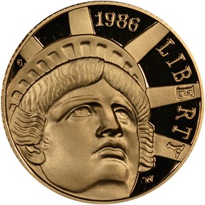 1986 W STATUE OF LIBERTY $5 PF obverse