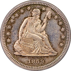 1859 25C PF obverse