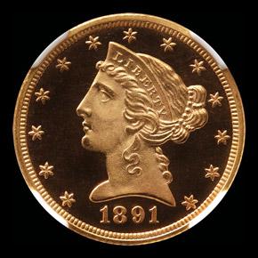 1891 $5 PF obverse