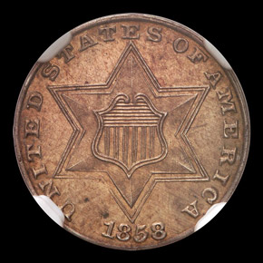 1858 3CS PF obverse
