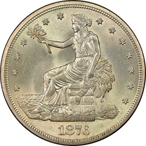 1876 S T$1 MS obverse