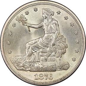 1876 S T$1 MS obverse