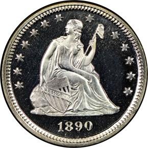 1890 25C PF obverse