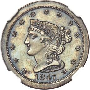 1847 ORIGINAL 1/2C PF obverse