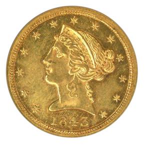 1843 C $5 MS obverse