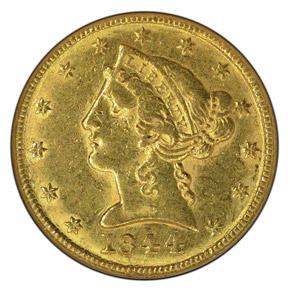 1844 C $5 MS obverse