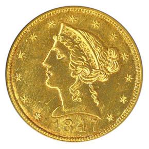 1847 C $5 MS obverse
