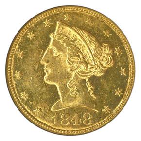 1848 C $5 MS obverse