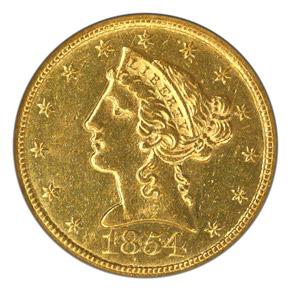 1854 C $5 MS obverse