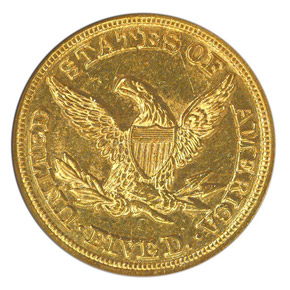 1854 C $5 MS reverse