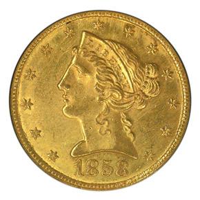 1858 C $5 MS obverse