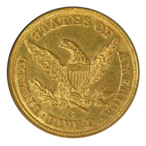 1858 C $5 MS reverse