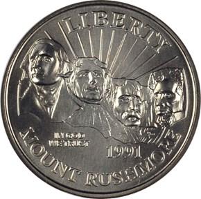 1991 D MOUNT RUSHMORE 50C MS obverse